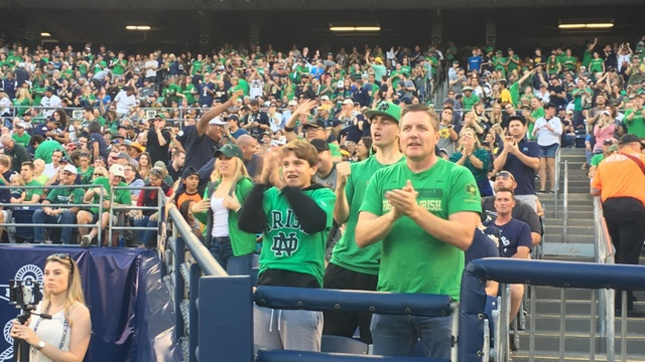 SDCCU packed for Navy Notre Dame game