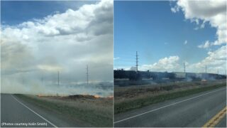 Wildland fire reported on Frontage Road near Manhattan, alternate routes advised