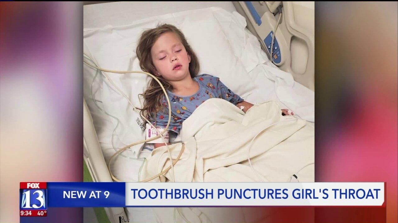 Toothbrush punctures 5-year-old Utah girl's throat after she falls while brushing herteeth