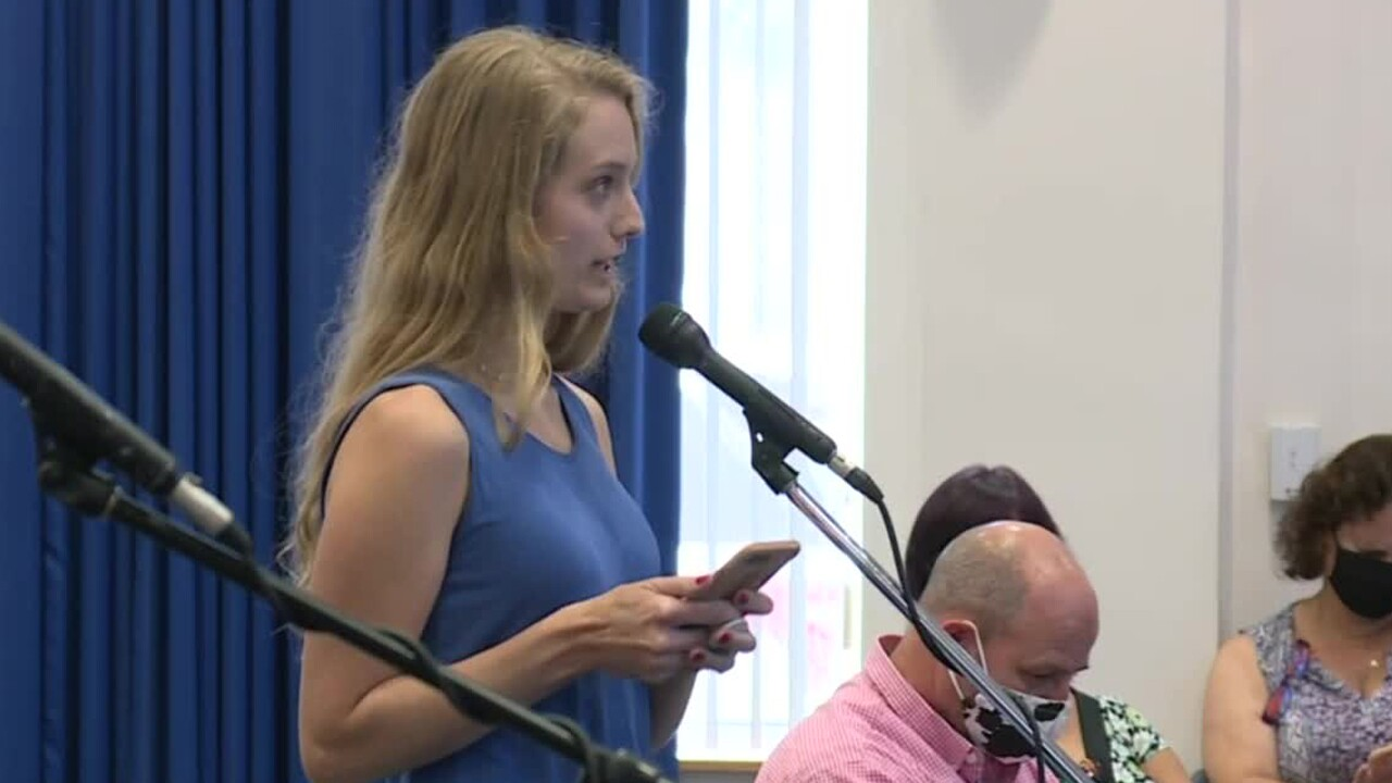 A Martin County resident speaks in opposition to a proposed mask mandate during a meeting held July 7, 2020.