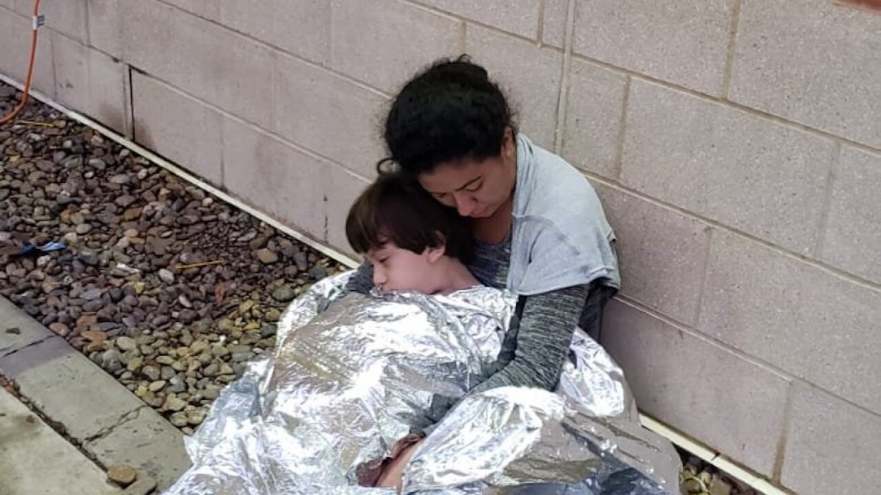 Photos show migrants sleeping on the ground at Border Patrol station in Texas