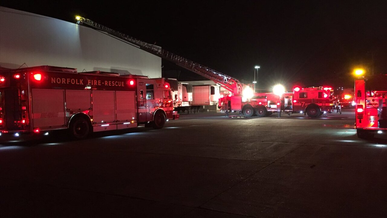 Two firefighters hospitalized after responding to Norfolk International Terminalsfire