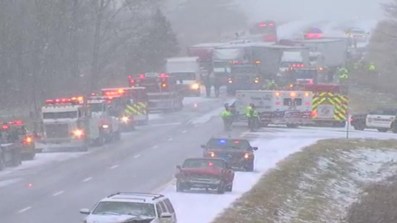 40+ cars in pileup on Michigan highway