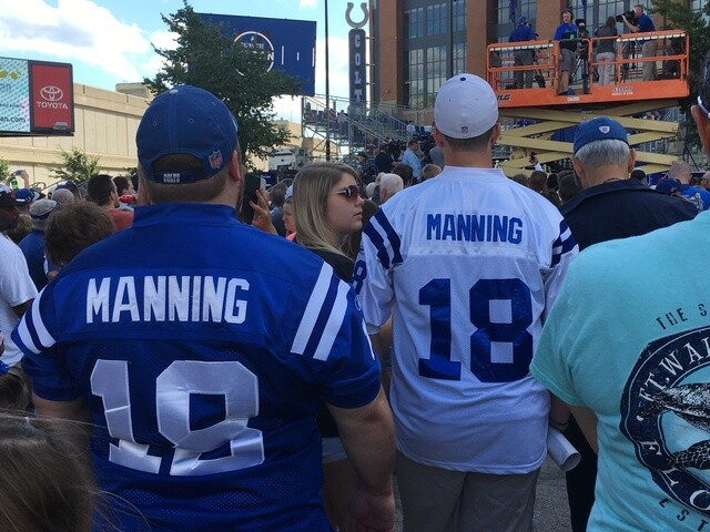 PHOTOS: Fans came out in droves for the unveiling of Peyton Manning's statue at Lucas Oil Stadium