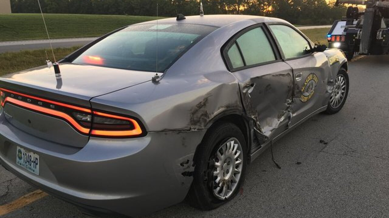 Missouri Highway Patrol car struck by distracted driver