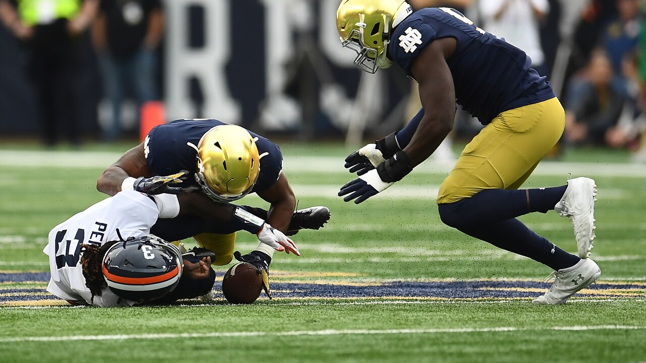UVA football relinquishes halftime lead at Notre Dame, remains winless all-time at Top 10teams