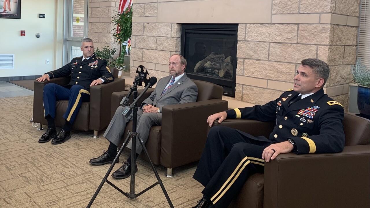 John Suthers, Major General Matthew McFarlane, and Command Sergeant Major Adam Nash