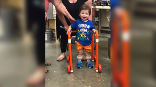 Home Depot employees build walker for 2-year-old with muscular issues