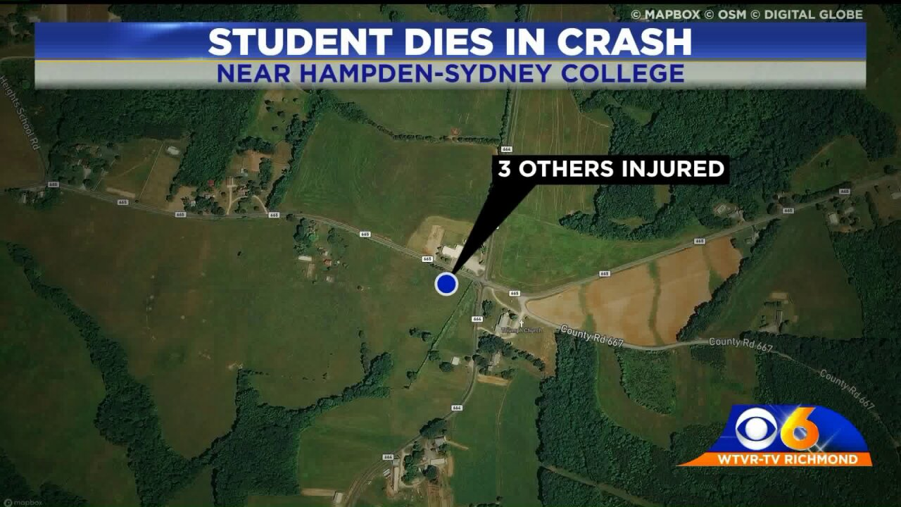 Hampden-Sydney student killed, 3 others injured incrash