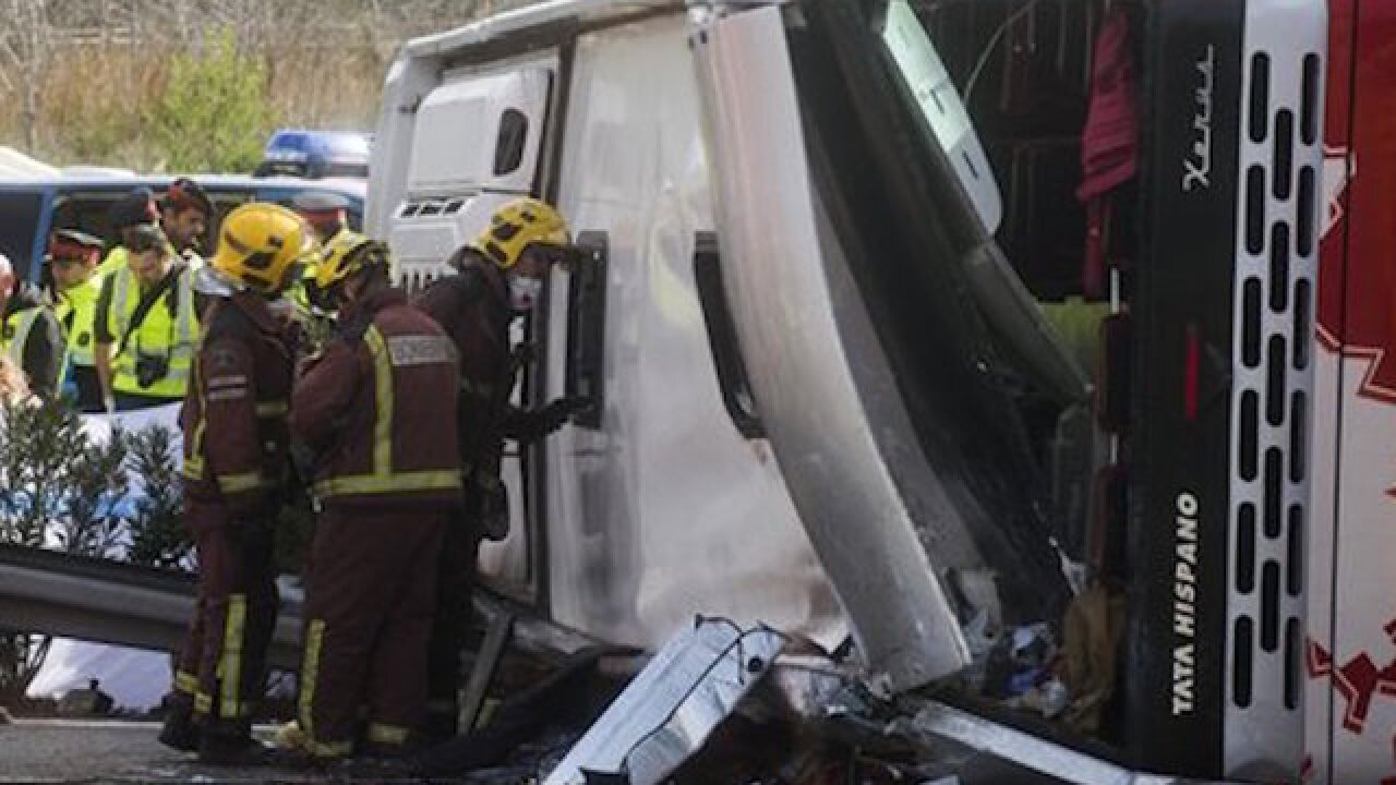 13 dead, 34 injured in bus crash in Spain