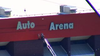 Video Extra: Rimrock Auto sign comes off MetraPark arena