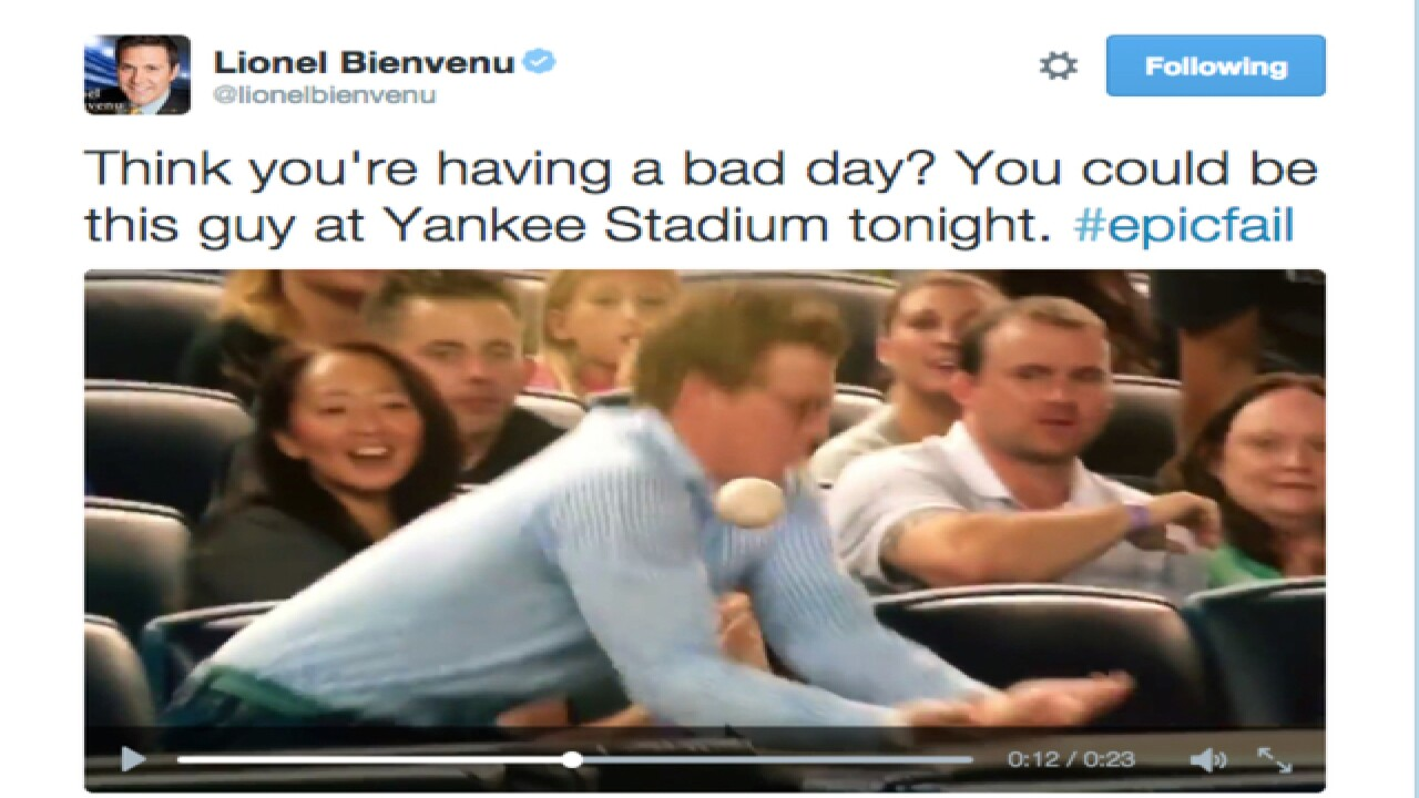 Clumsy Yankees fan just can't catch a ball
