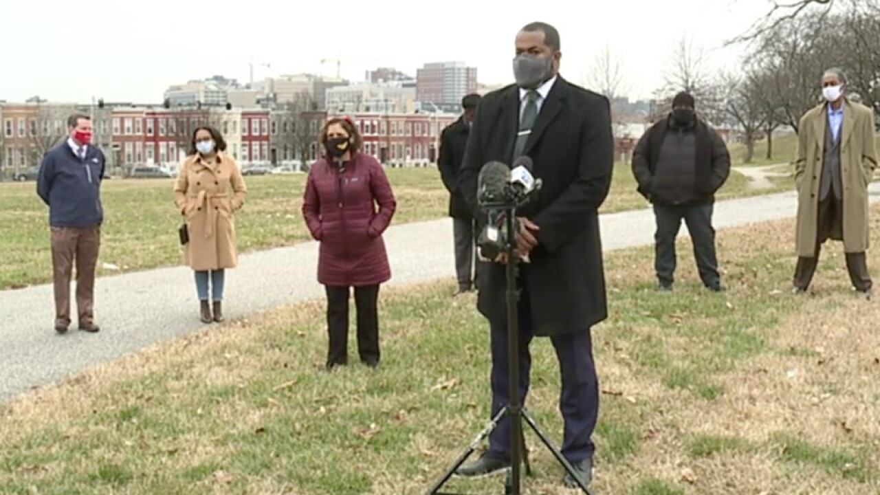 Odette Ramos, Sharon Green Middleton,  Antonio Glover, and Robert Stokes were among the City Council members who joined Council President Nick Mosby on Monday to introduce new legislation that addresses home evictions during the COVID-19 pandemic