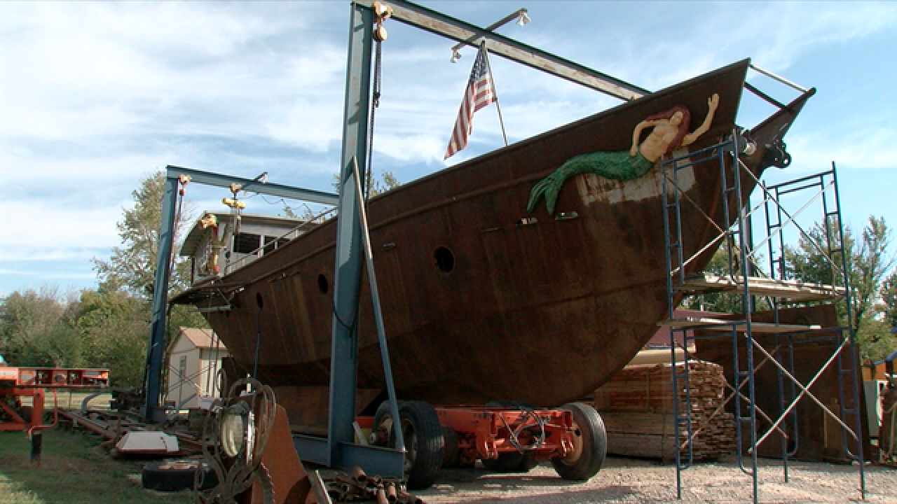 Hundreds help Tulsa man build massive steel ship