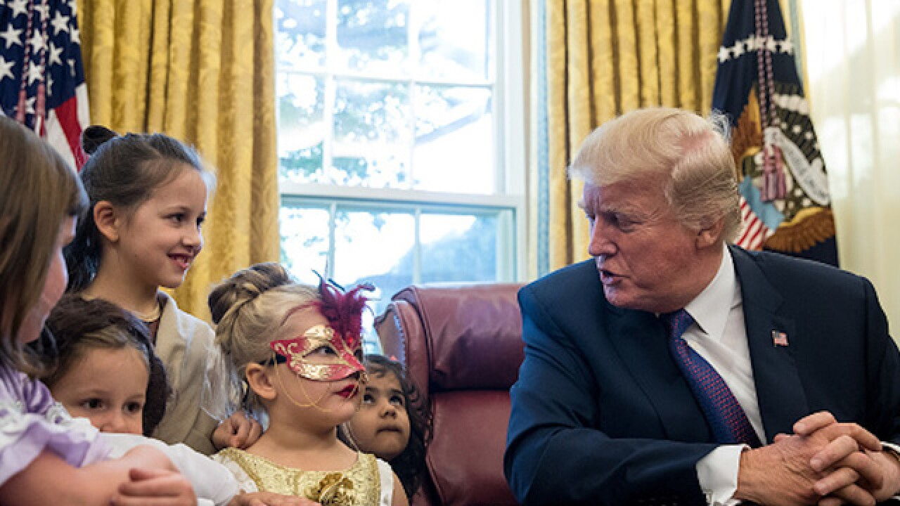 President Trump to trick-or-treaters: 'You have no weight problems, that's the good news, right?'