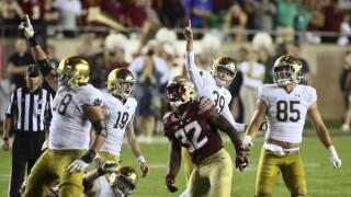 Notre Dame Fighting Irish kicker Jonathan Doerer celebrates game-winning FG at Florida State in 2021