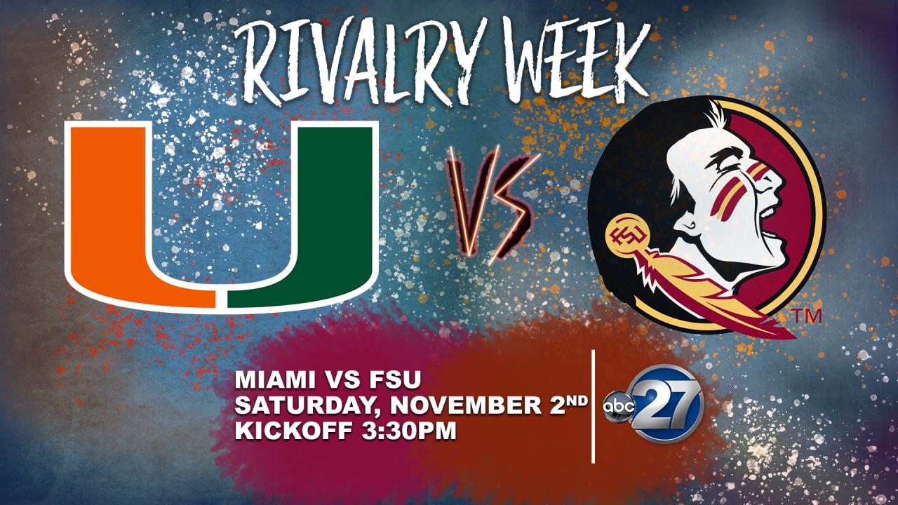 FSU-Miami rivalry game to be shown on ABC 27