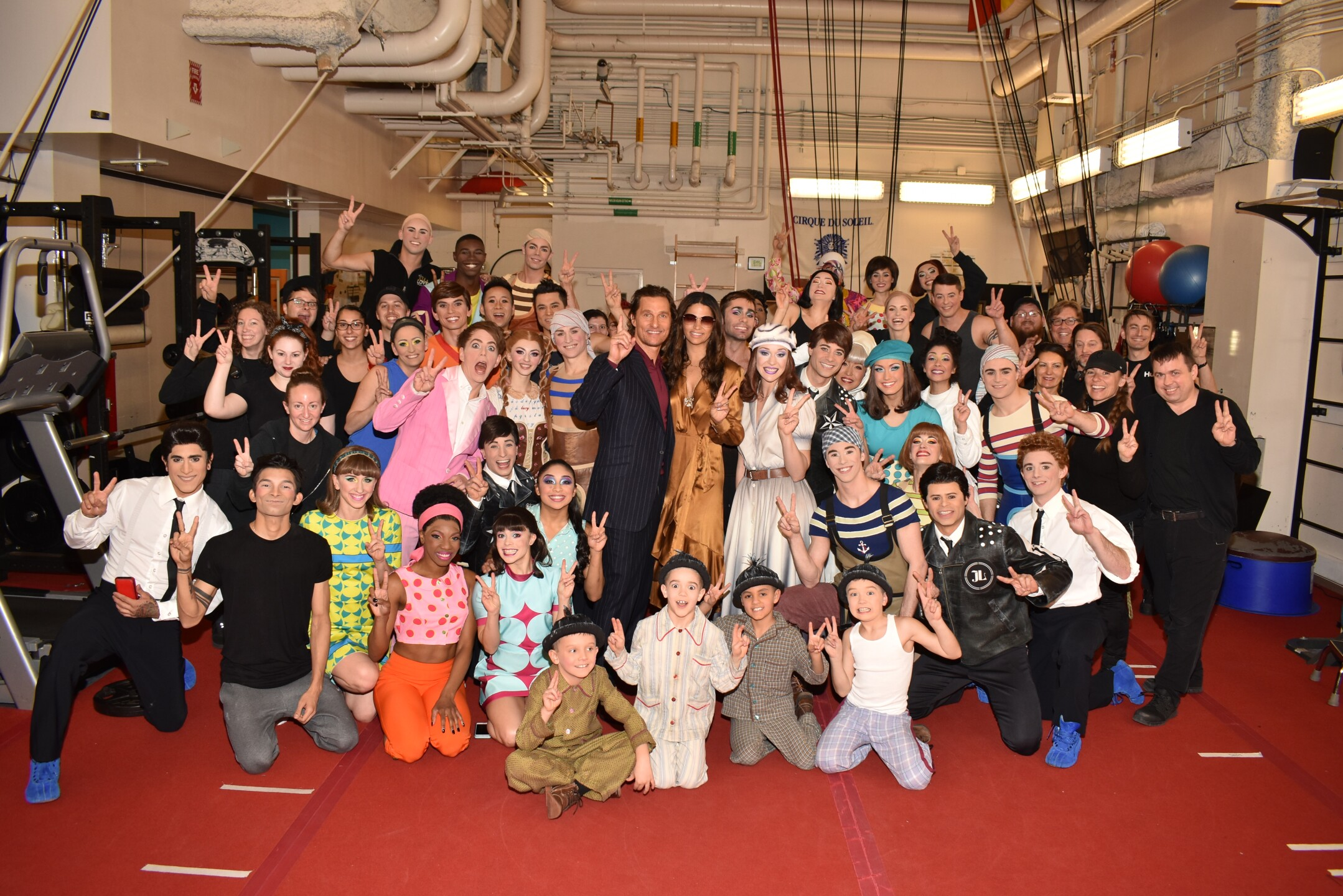 Matthew McConaughey and Camila Alves Backstage with the Cast at LOVE by Cirque du Soleil, Jan. 18, 2020.jpg