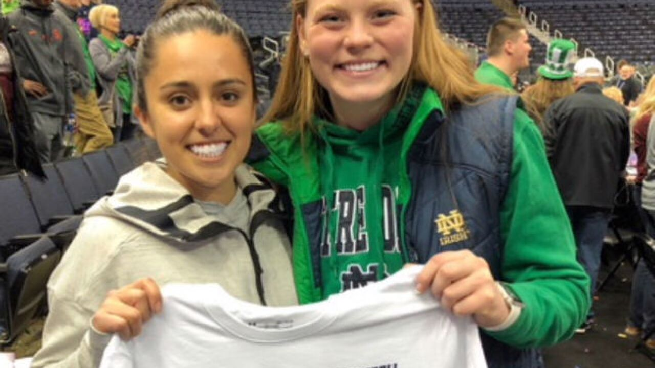 Lakota West's Abby Prohaska celebrates Notre Dame's NCAA Women's Basketball National Title