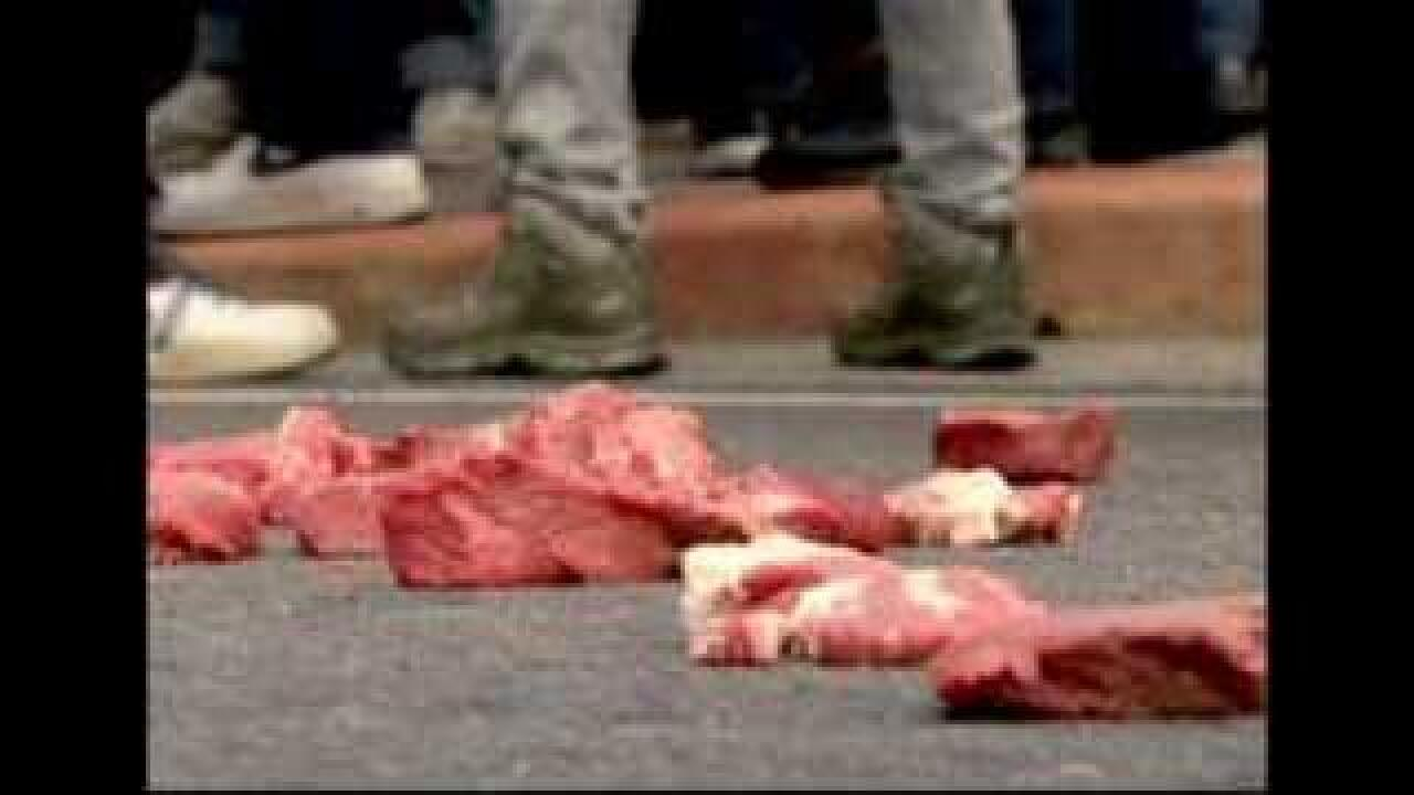 Protesters question safety of U.S. beef