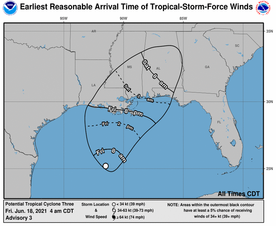 Timing Of Tropical System