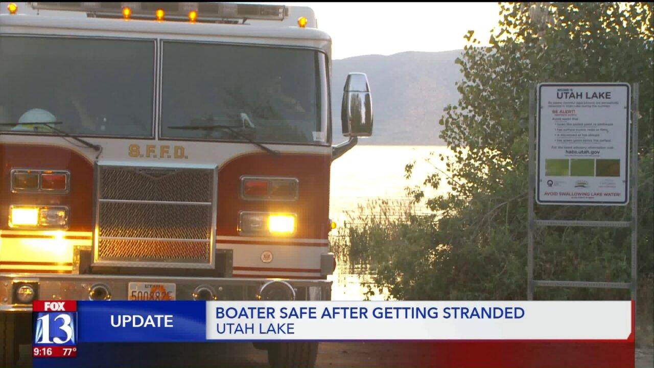 Stranded Utah Lake boater reportedsafe