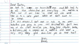 A 7-year-old temporarily living in a domestic violence shelter asked Santa for books and a 'very good dad'