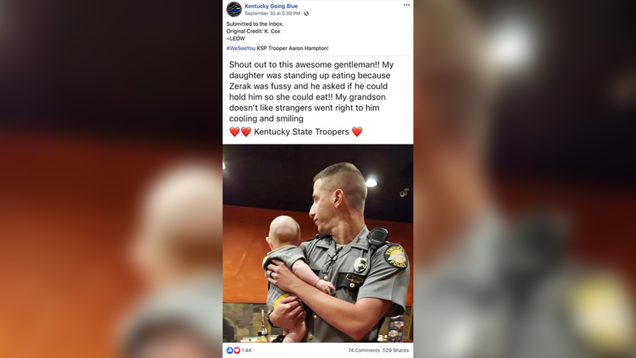 Viral photo: Kentucky state trooper gives young mother a break so she can finish eating