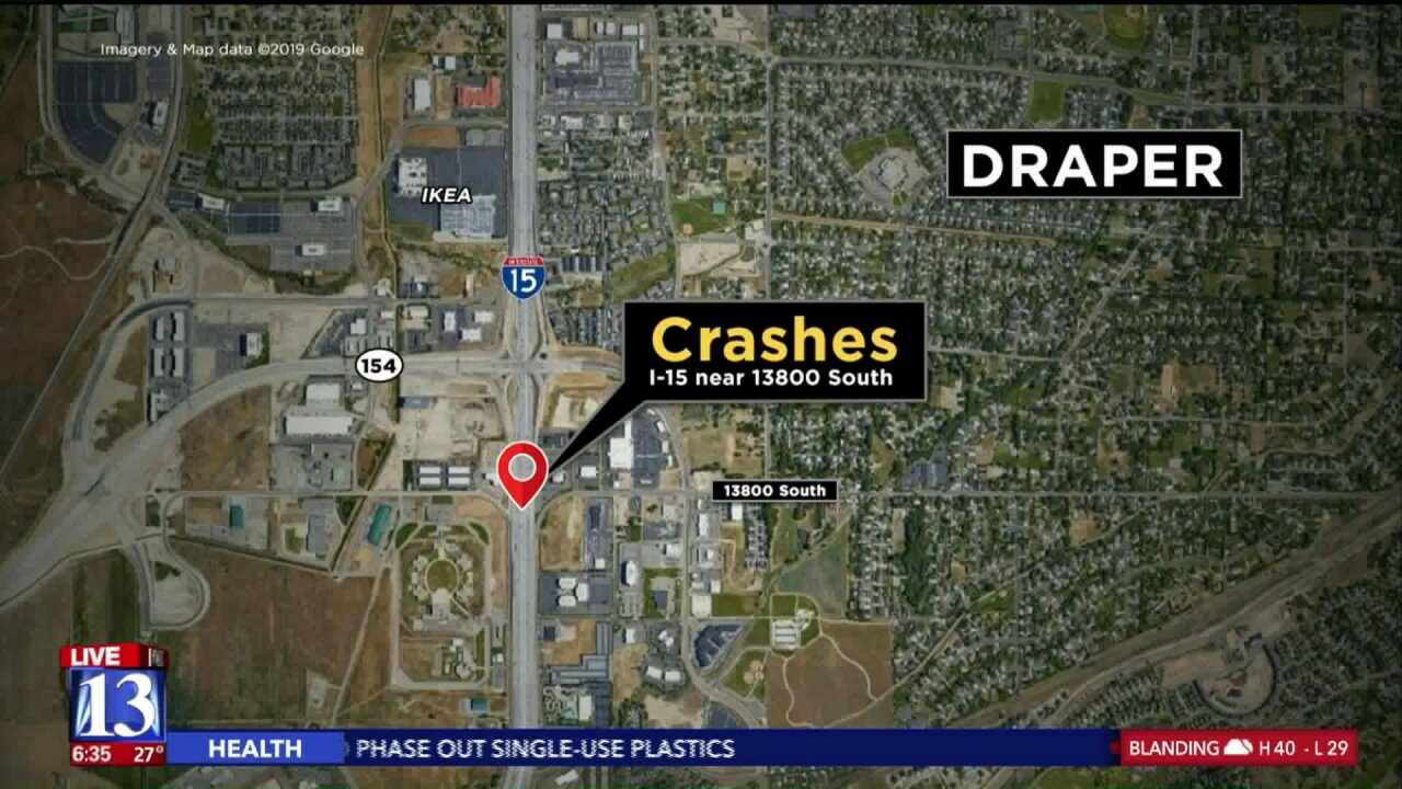 Woman causes multiple accidents by running onto I-15 in Draper