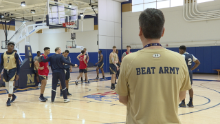 Navy men's basketball practice