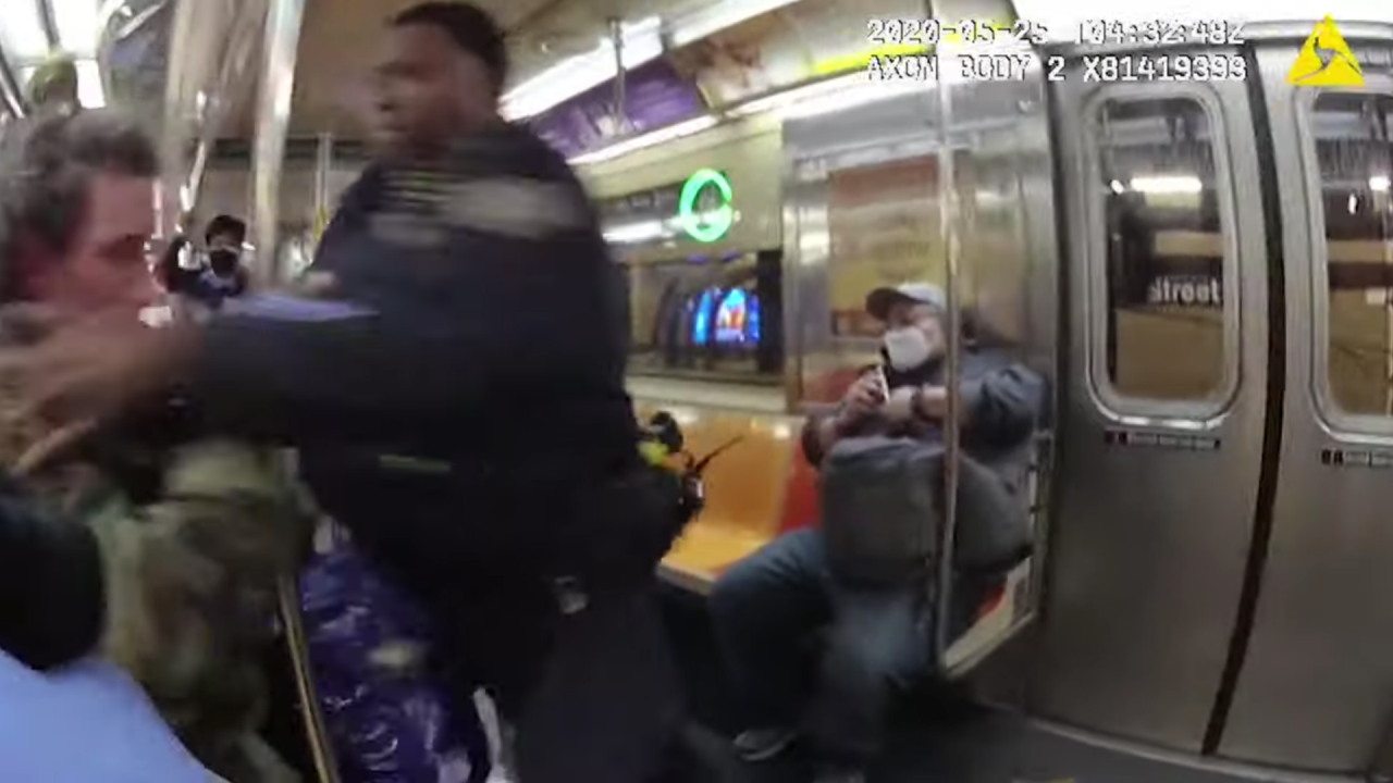 Man punched by police on subway