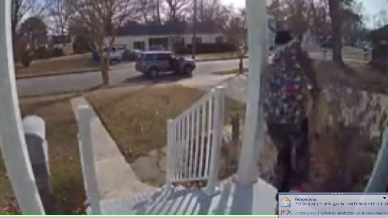 Watch: Porch pirate swipes Valentine's Day gift from Norfolkhome