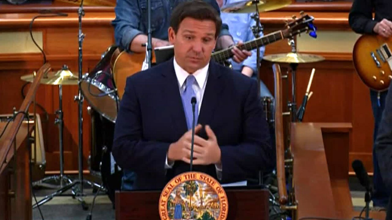 Gov. Ron DeSantis holds a news conference in Tallahassee, Fla., on March 29, 2021.