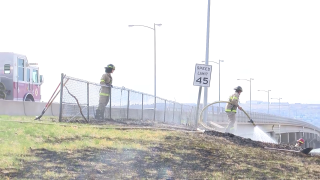 A small grass fire along 10th Avenue South kept firefighters busy for a bit on Saturday afternoon.
