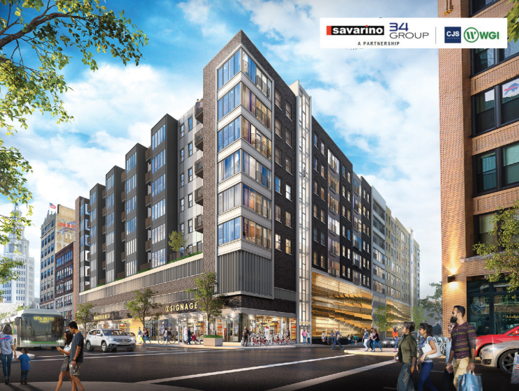 Savarino Companies, 34Group, CJS Architects, and WGI - 10-story building, 4-story structured parking, 6-stories of residential units, ground floor retail space, and activation of the adjacent streetscape