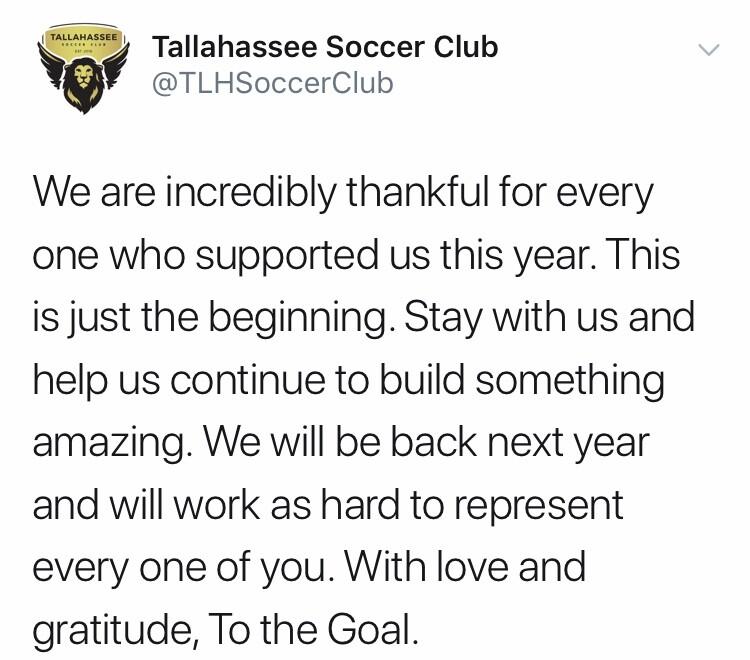 Tallahassee Soccer Club reaches playoffs; falls to Louisiana Krewe FC