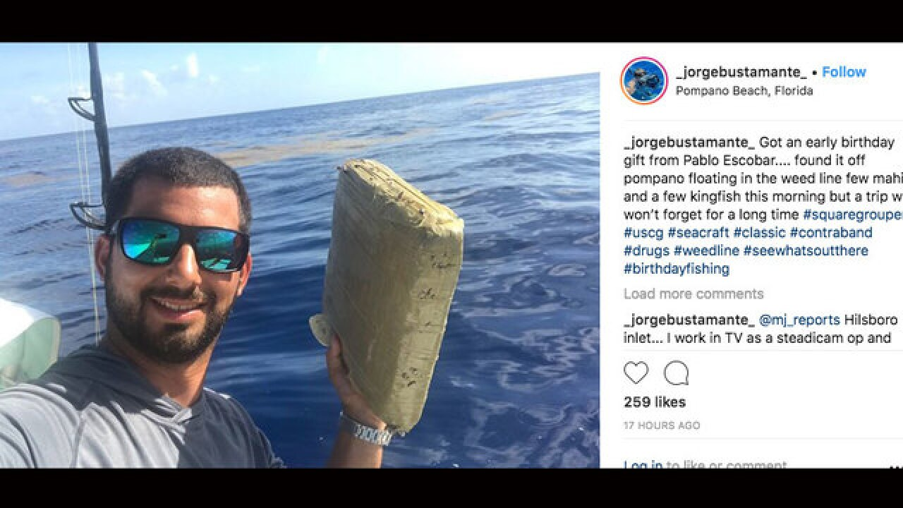 South Florida fisherman finds floating marijuana brick off beach