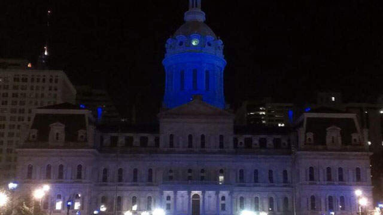 City Hall dome goes blue for Prostate Cancer Awareness Month tonight