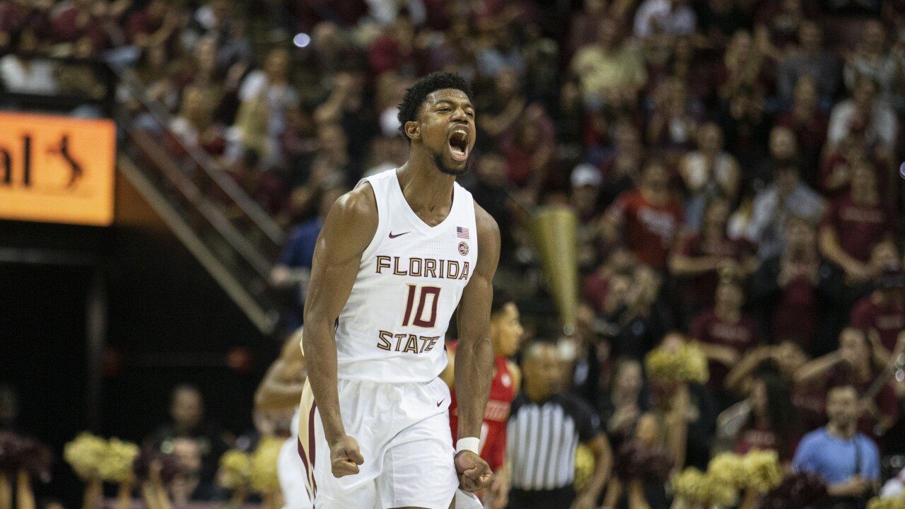 Florida State Seminoles forward Malik Obsorne celebrates in February 2020