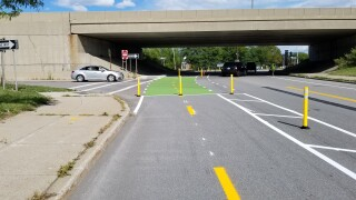 Protected Bike lane on Ridge Road in Lackawanna