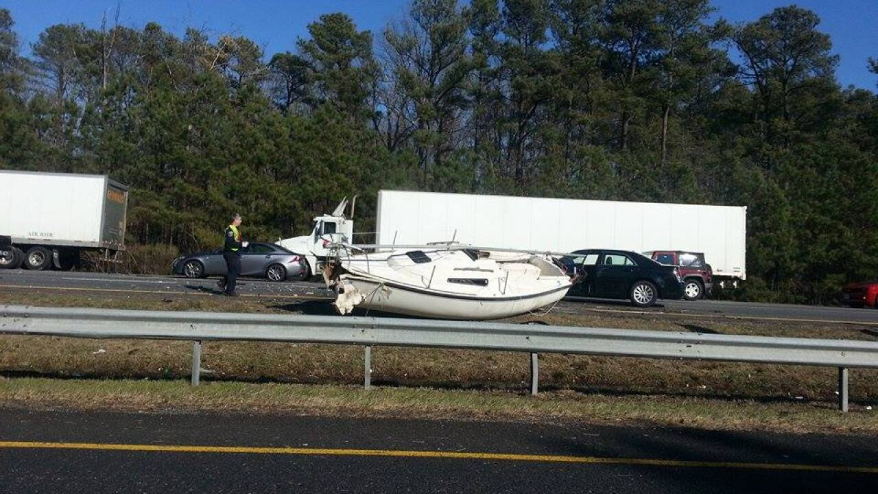 Wreck involving boat jams traffic on I-95 north in Hanover