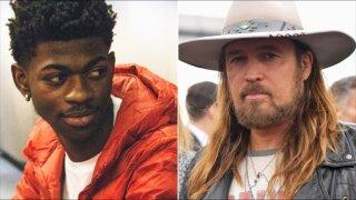Lil Nas X (L) Billy Ray Cyrus (R)