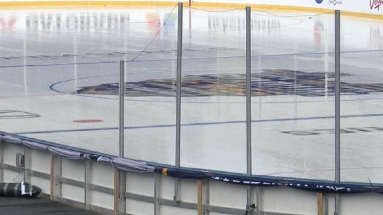 Outdoor rink ready for Caps and Leafs at Navy