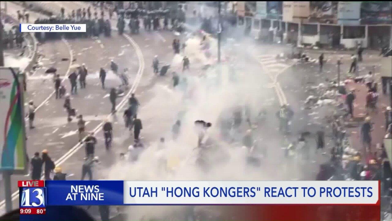Utah students watch as family members join protests in HongKong