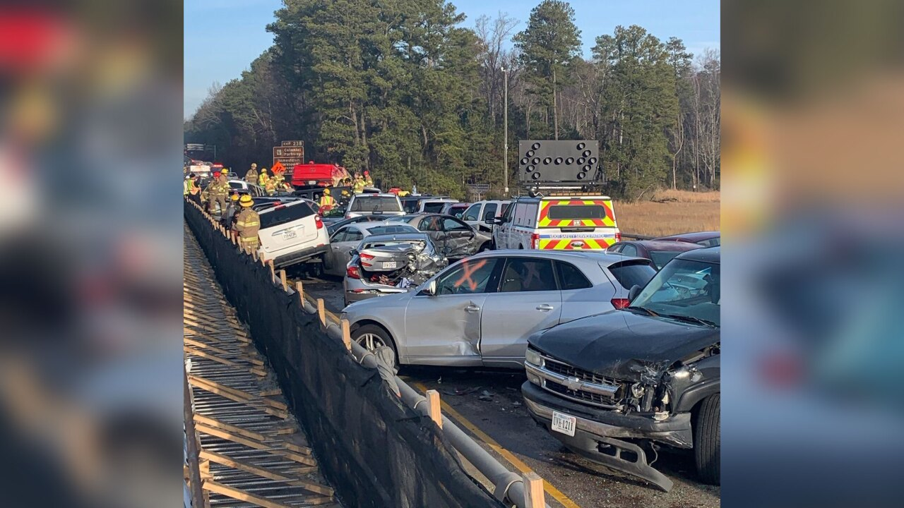 More than 60 vehicles involved in chain reaction crash on Virginia interstate