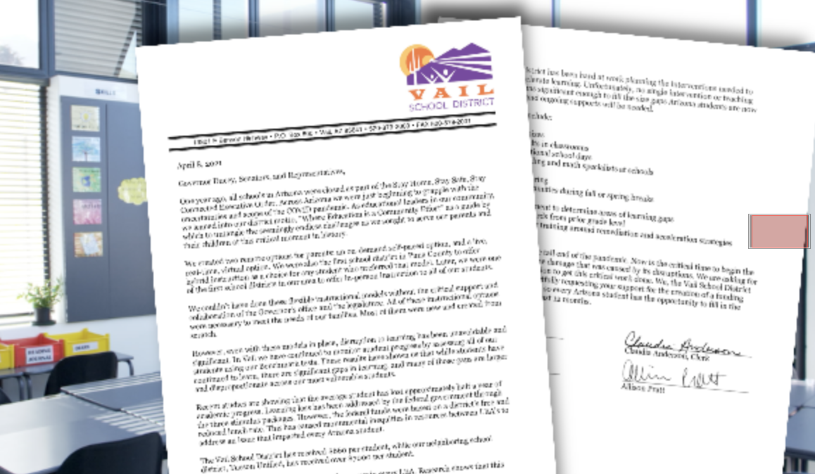 VAIL letter to state regarding funding floor