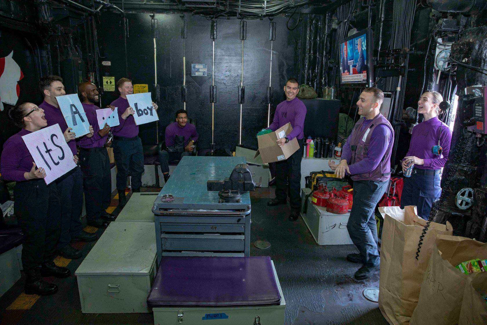 Photos: Shipmates hold surprise gender reveal for deployed Sailor on localship