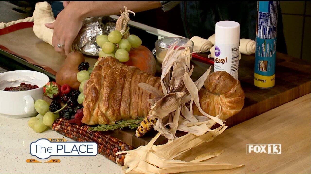Thanksgiving cornucopia veggie and fruittray