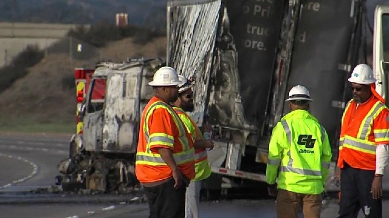 Fire engulfs Amazon delivery truck on I-15