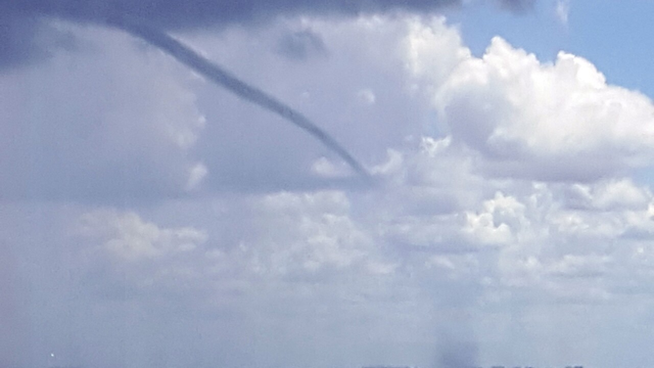 Waterspout forms over Tampa Bay